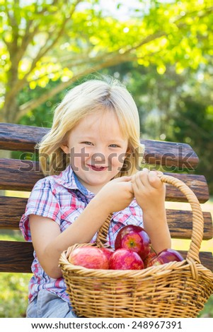 Adorable child sitting on bench with basket of red apples for a healthy snack - stock photo
