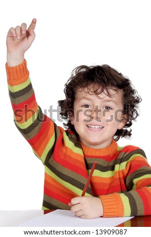 adorable child student a over white background - stock photo