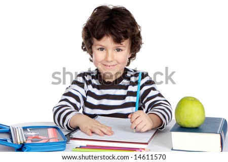 adorable child student a over white background