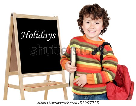Adorable child student whit slate isolated on a over white background - stock photo