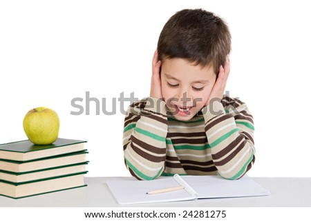 Adorable child studying with books and apple on a over white background