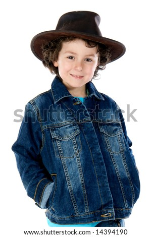 Adorable child wearing a cowboy hat a over white background - stock photo