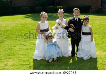 Adorable Child Wedding Party - stock photo