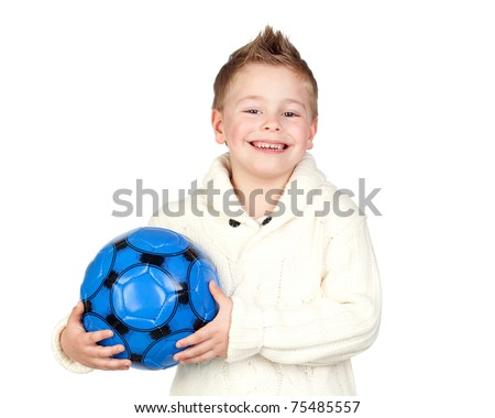 Adorable child with a ball isolated on white background