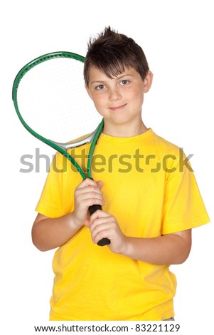 Adorable child with a tennis racket isolated on a over white - stock photo