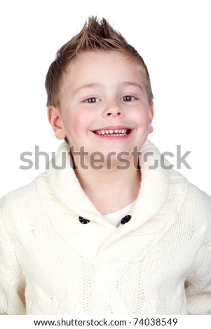 Adorable child with blond hair isolated on white background