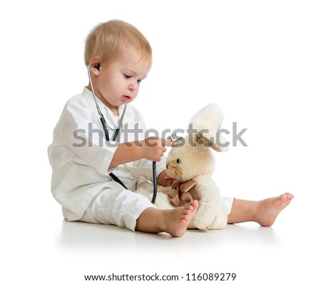 Adorable child with clothes of doctor isolated on white - stock photo