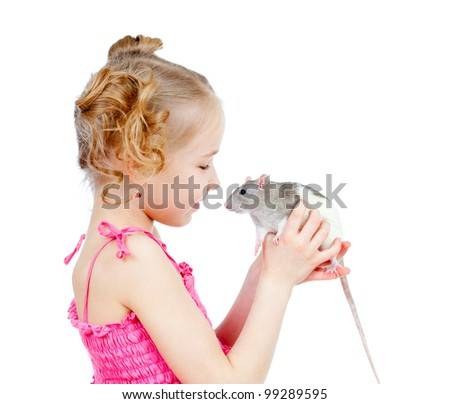 adorable child with domestic rat - stock photo