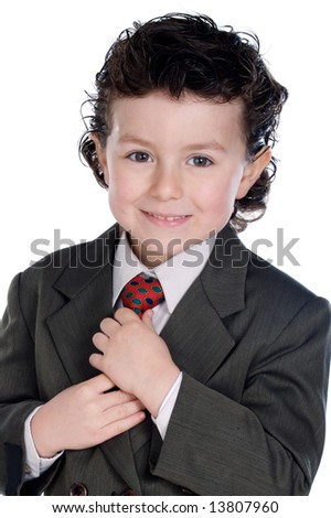 Adorable child with elegant clothes a over white background - stock photo