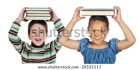 Adorable child with many books on the head isolated over white - stock photo