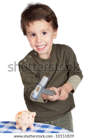 adorable child with money box of piggy a over white background - stock photo