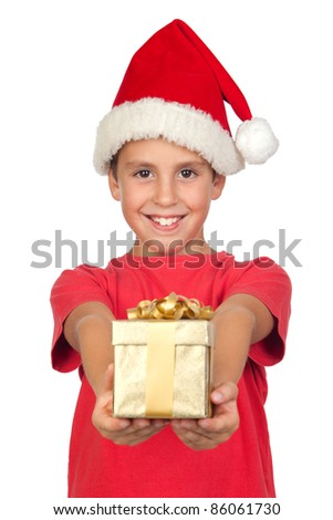 Adorable child with Santa Hat offering a gift isolated on white background - stock photo