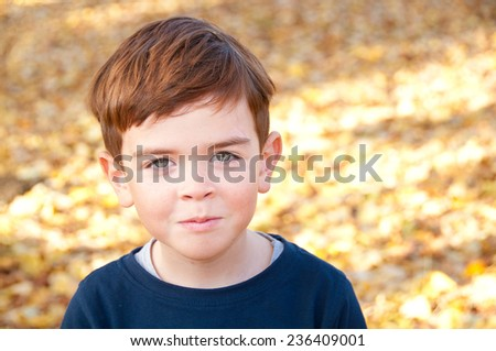 Adorable child within colorful autumn leaves - stock photo
