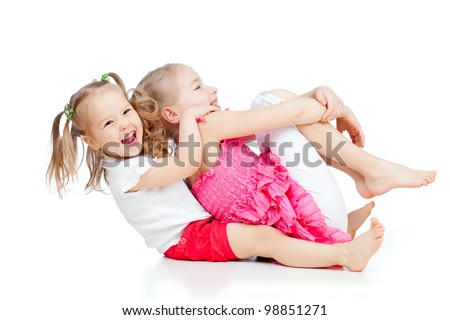 adorable children having funny pastime - stock photo