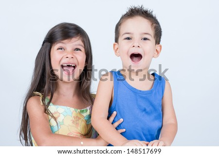 Adorable children smiling with big mouth