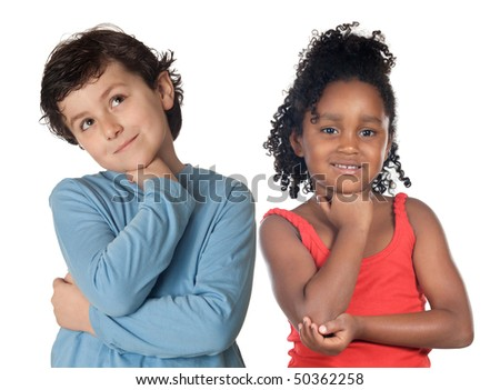 Adorable children thinking isolated on a over white background