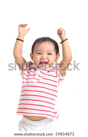 Adorable Chinese baby girl with hands up