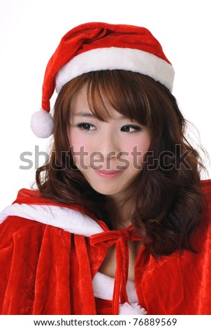 Adorable Christmas girl, half length closeup portrait on white background. - stock photo