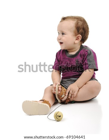 Adorable cute baby, full body isolated - stock photo