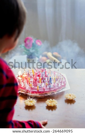 Adorable cute boy, blowing candles on a birthday cake at home - stock photo