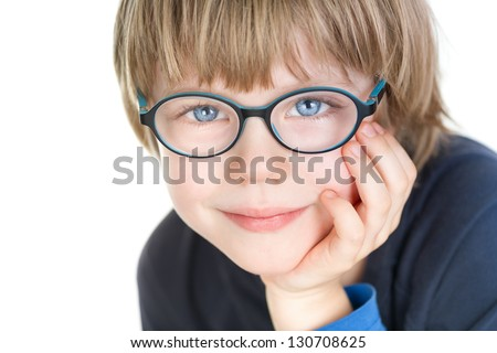 Adorable cute boy with glasses - portrait - stock photo