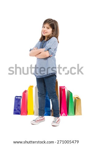 Adorable, cute, young and satisfied shopping girl on white background - stock photo