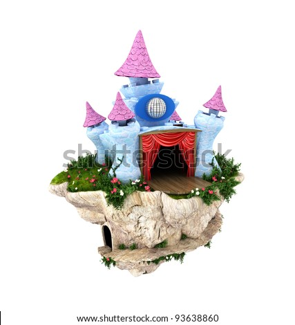 Adorable Disco castle on a floating island. - stock photo