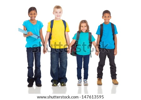 adorable elementary pupils holding hands isolated on white - stock photo
