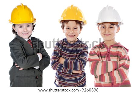 Adorable engineering team a over white background - stock photo