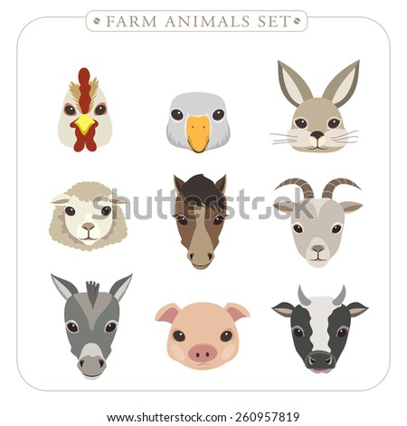 adorable farm animals set in flat design  - stock photo