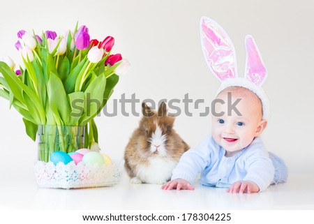 Adorable funny baby boy with bunny ears playing with a real rabbit next to tulip flowers and Easter eggs, on white background - stock photo