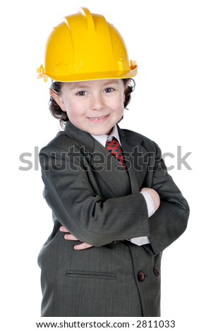 adorable future architect over a white background - stock photo