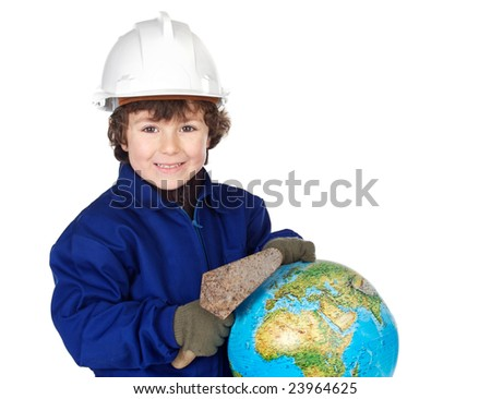 Adorable future builder constructing the world a over white background - stock photo