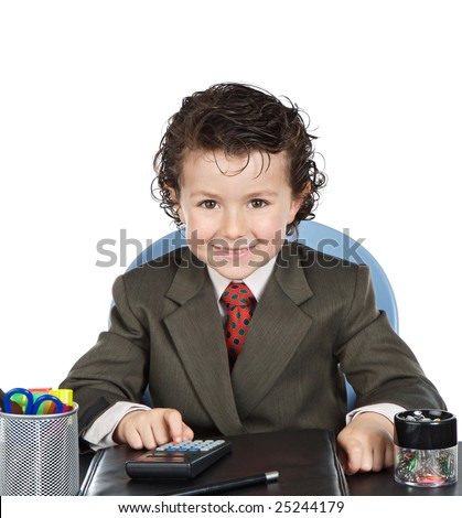 Adorable future businessman in the office on a over white background - stock photo