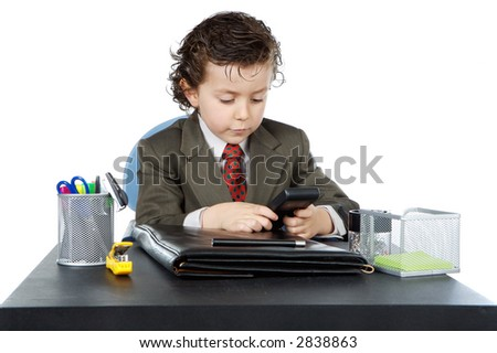 adorable future businessman in your office a over white background - stock photo