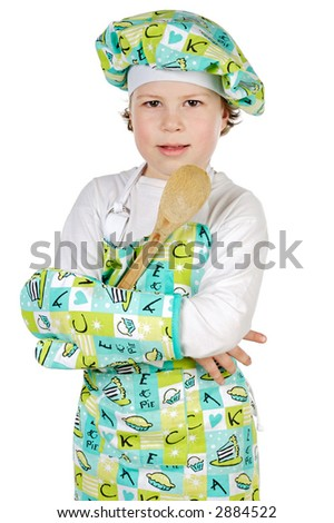 adorable future cook a over white background
