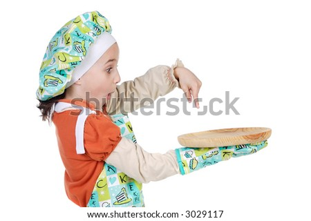 adorable future cook a over white background - stock photo