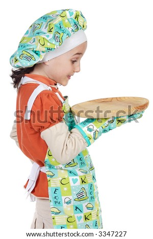 adorable future cook with surprise gesture a over white background - stock photo