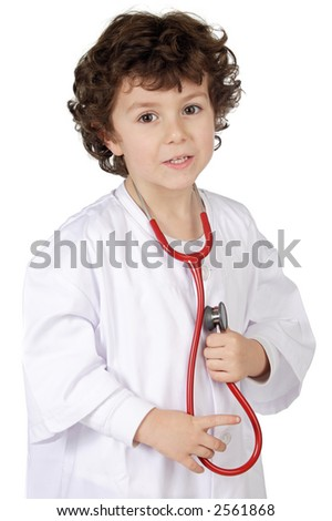 Adorable future doctor a over white background - stock photo