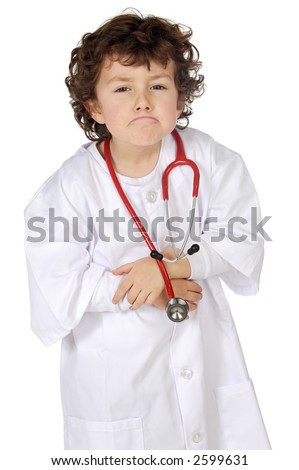 adorable future doctor putting grouch face a over white background - stock photo