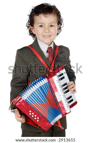 adorable future musical a over white background - stock photo
