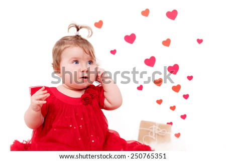 Adorable girl ,  a heart in the background. Valentine's Day