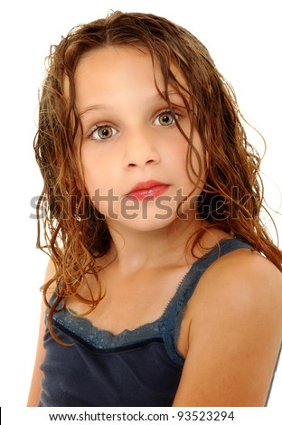 Adorable Girl Child Making Crazy Expression Over White with Wet Hair - stock photo