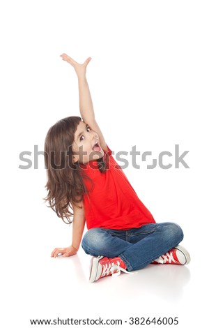 Adorable girl having great time making faces, isolated on white - stock photo