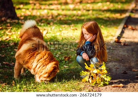 Adorable girl in a park with a dog - stock photo
