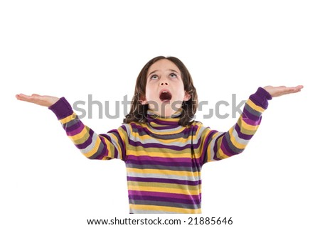 Adorable girl looking at above on a over white background - stock photo