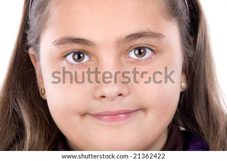 Adorable girl on a over white background - stock photo