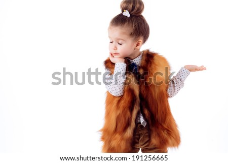 Adorable  girl on a white background. fashion portrait. isolated on white background - stock photo