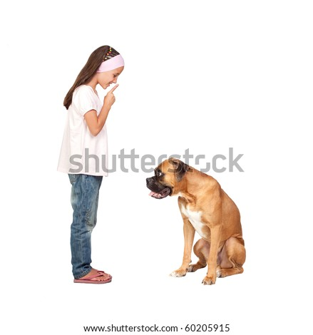 Adorable girl ordering silence his dog isolated on white background - stock photo
