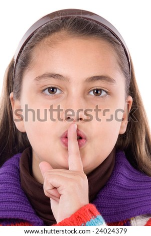 Adorable girl ordering silence on a over white background - stock photo